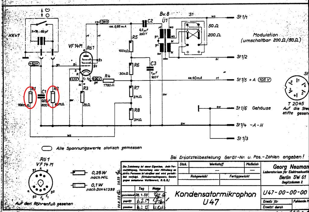 which resistors for u47 clone